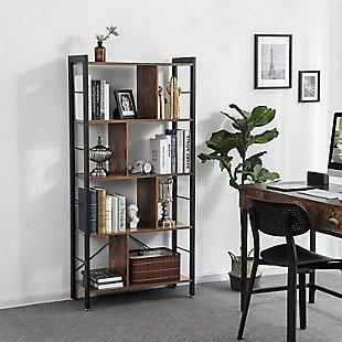 Vasgale 4-Tier Industrial Bookcase, , rollover
