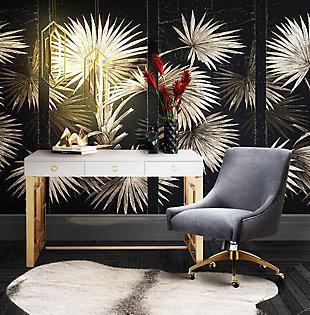 TOV Furniture Beatrix Gray Office Swivel Chair, , rollover