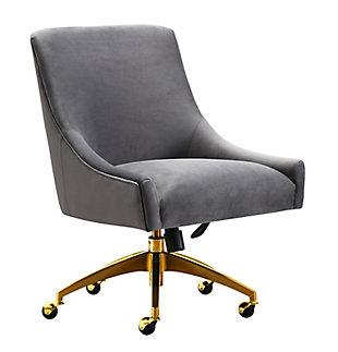 TOV Furniture Beatrix Gray Office Swivel Chair, , large