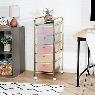 Honey-Can-Do 5-Drawer Rolling Storage Cart With Plastic Drawers, , rollover