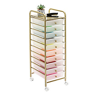 Honey-Can-Do 10-Drawer Rolling Storage Cart With Plastic Drawers, , rollover