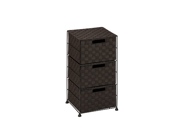 Honey-Can-Do Double Woven 3-Drawer Storage Organizer Chest, , large