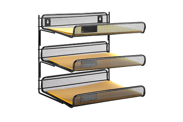 3 Tier Mesh Desk Organizer, , large