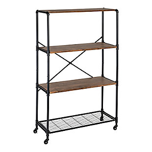4-Tier Industrial Rolling Bookshelf, , large