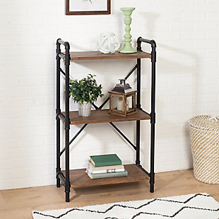 3-Tier Industrial Black Bookshelf, , rollover