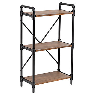 3-Tier Industrial Black Bookshelf, , large