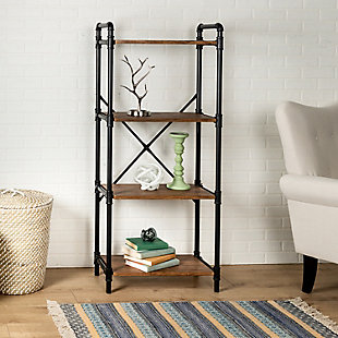 4-Tier Industrial Black Bookshelf, , rollover