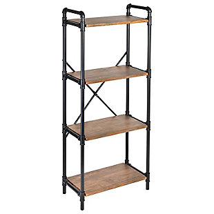 4-Tier Industrial Black Bookshelf, , large