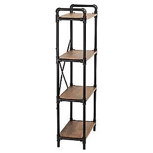 4-Tier Industrial Black Bookshelf, , large