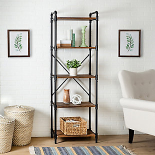 5-Tier Industrial Black Bookshelf, , rollover