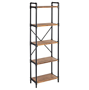 5-Tier Industrial Black Bookshelf, , large