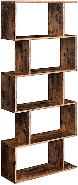 Industrial 5-Tier Wooden Bookcase, , large