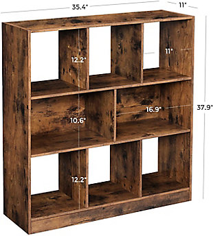 Industrial Wooden Bookcase with Open Shelves, , large