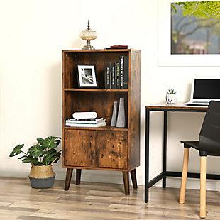 Industrial Retro 2-Tier Bookshelf with Doors, , rollover