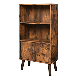 Industrial Retro 2-Tier Bookshelf with Doors, , large