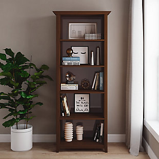 "Amherst  Solid Wood 70"" Transitional 5 Shelf Bookcase, , rollover"