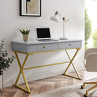 Henrick Campaign 2-Drawer Desk, , rollover