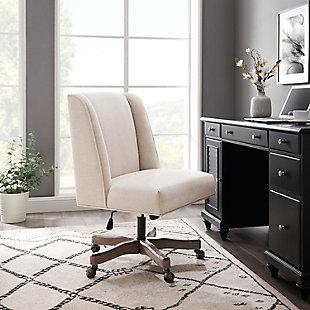 Draper Upholstered Swivel Office Chair, White, rollover