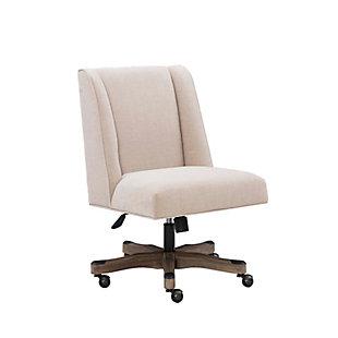 Draper Upholstered Swivel Office Chair, White, large