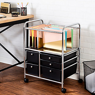 5 Drawer Rolling File Cart, , rollover