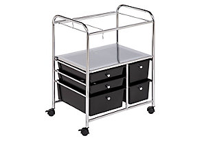 5 Drawer Rolling File Cart, , large