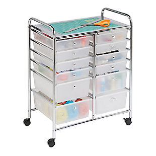 12 Drawer Metal Rolling Storage Cart, , large