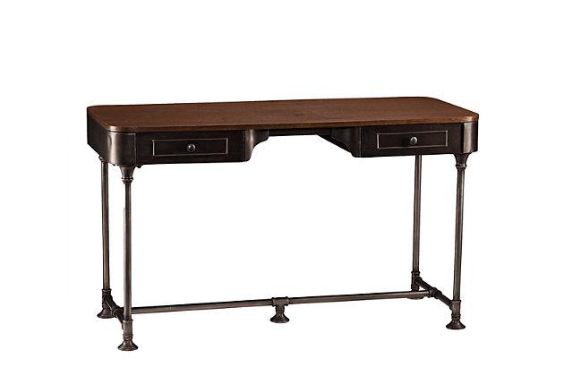 SEI Edison Industrial 2-Drawer Desk, , large
