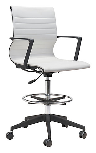 Stacy White Drafter Office Chair, , large