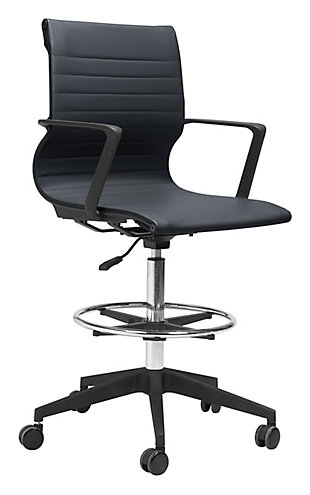 Stacy Black Drafter Office Chair, , large