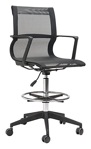 Stacy Black Drafter Mesh Office Chair, , large