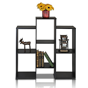 Furinno Parsons Staggered Cube Bookcase with 6-Shelves, , rollover