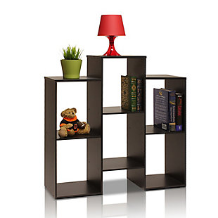 Furinno Parsons Staggered Cube Bookcase with 6-Shelves, , large
