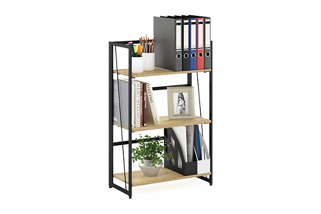 Furinno Riau No Tool Metal Frame Bookcase, , large