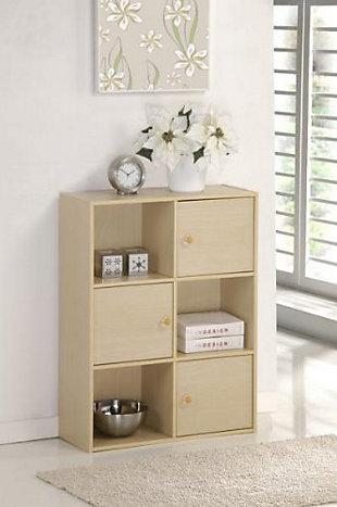 Furinno Pasir 3 Tier Shelf with 3 Door/Round Handle, , rollover