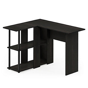 Furinno Abbott L-Shape Desk with Bookshelf, , large