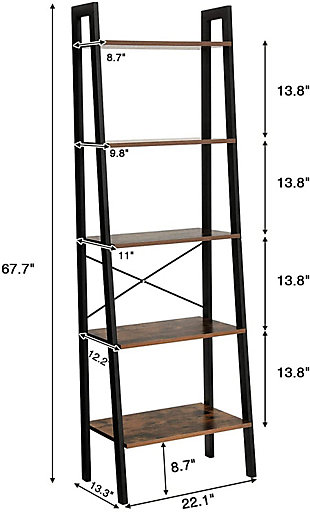 Vasagle Industrial Rustic 5-Tier Shelf, , large