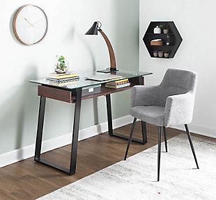 Duke Contemporary Desk, Clear, rollover