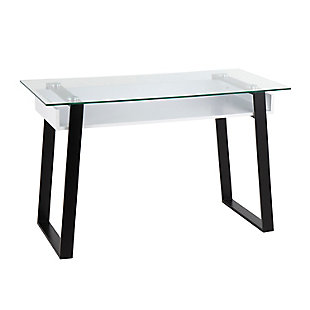 Duke Contemporary Desk, Clear, large
