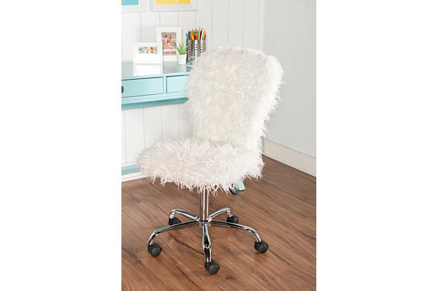 Faux Flokati Armless Faux Flokati Armless Office Chair, , large
