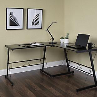 """OFM Essentials 60"""" Metal L-Shaped Desk, Black, rollover"""