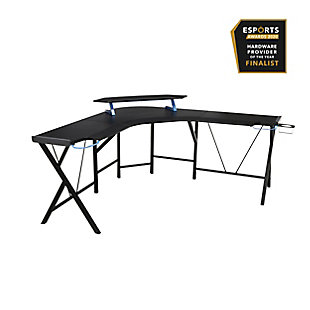 RESPAWN 2000 L-Shaped Gaming Desk, Blue/Black, large