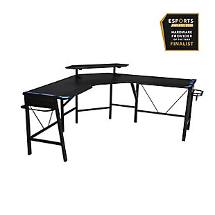 RESPAWN 2010 L-Shaped Gaming Desk, Blue/Black, rollover
