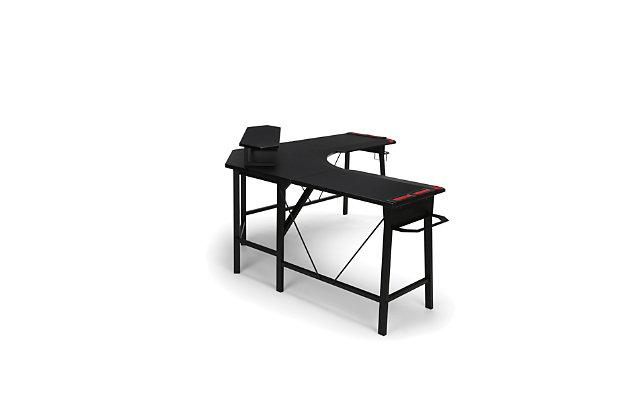 RESPAWN 2010 L-Shaped Gaming Desk, Red/Black, large