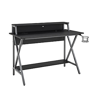 Linon Jared LED Gaming Desk, Black/Gray, large