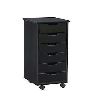 Linon Boyd Black 6-Drawer Rolling Storage Cart, , large