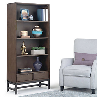 """Simpli Home Banting 66"""" Wooden Industrial Bookcase, , rollover"""