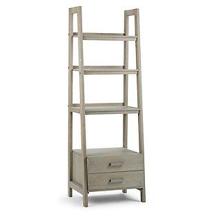 "Simpli Home Sawhorse 72"" Wooden Ladder Shelf with Storage, , large"