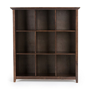 Simpli Home Acadian Rustic 9 Cube Bookcase and Storage Unit, Brown, large
