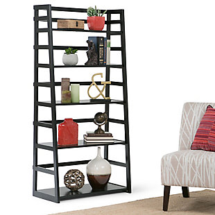 """Simpli Home Acadian 63"""" Wooden Rustic Ladder Bookcase, , rollover"""