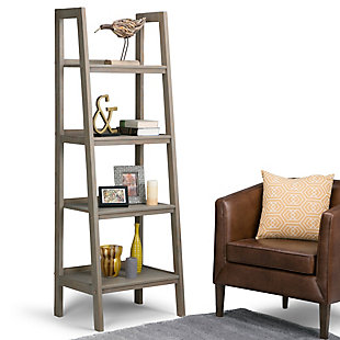 "Simpli Home Sawhorse 72"" Industrial Ladder Shelf, , rollover"